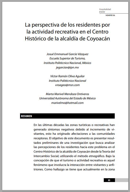 36_4 La perspectiva de los residentes por la actividad recreativa en el Centro Histórico de la alcaldía de Coyoacán