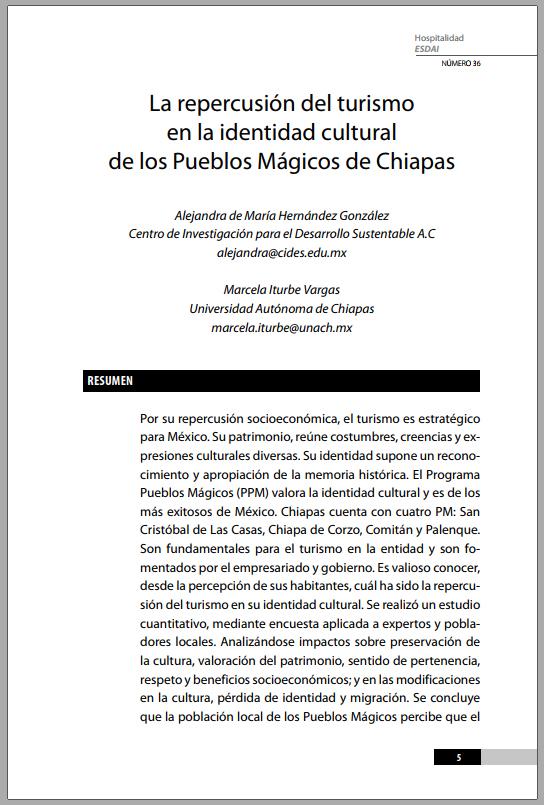 36_1 La repercusión del turismo en la identidad cultural de los Pueblos Mágicos de Chiapas
