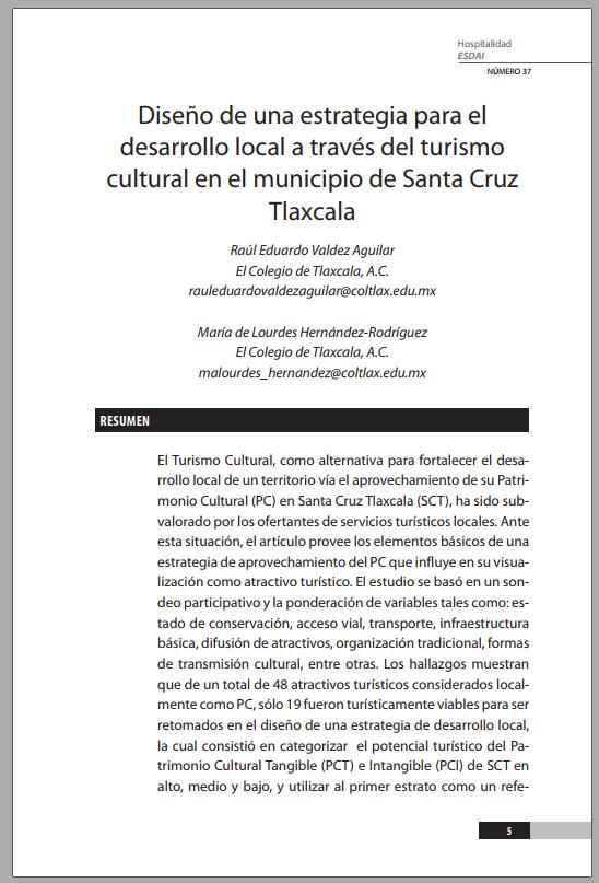 37_1 Diseño de una estrategia para el desarrollo local a través del turismo cultural en el municipio de Santa Cruz Tlaxcala