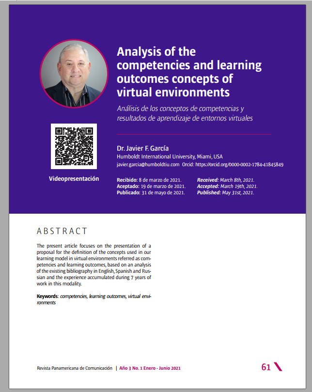 Analysis of the competencies and learning outcomes concepts of virtual environments