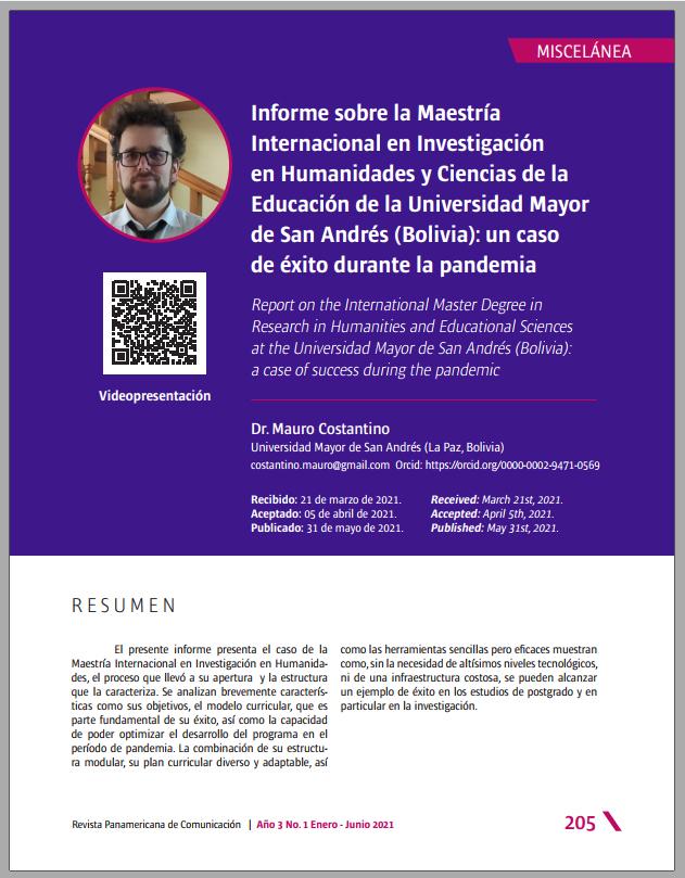 Informe sobre la Maestría Internacional en Investigación en Humanidades y Ciencias de la Educación de la Universidad Mayor de San Andrés